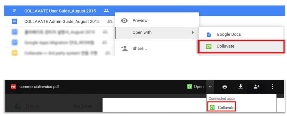GoogleドライブのUIからすぐにコラベートへ接続できます。