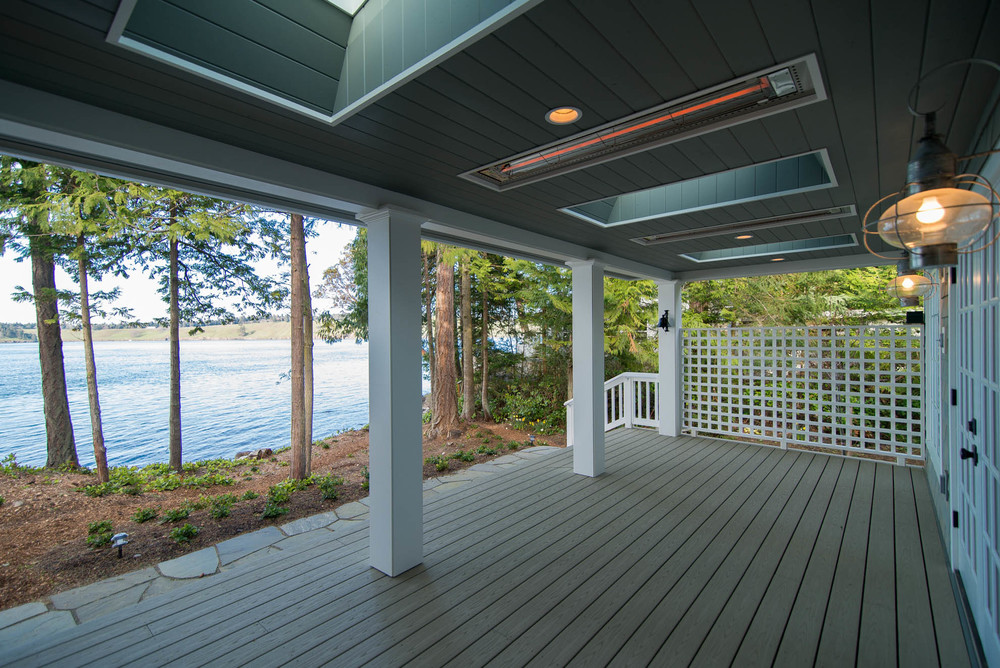 Friday Harbor, San Juan Island - Davidson Head Custom Guest House Back Porch Radiant heaters in ceiling......toasty on a winter morning.