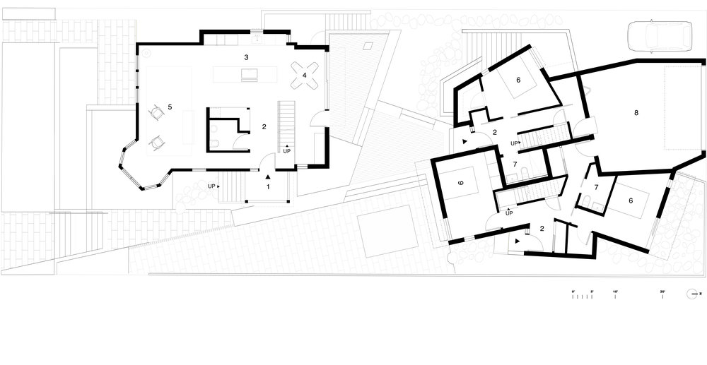 Main Floor    1  Porch  2  Entry  3  Kitchen  4  Dining Room  5  Living Room  6  Bedroom  7  Bathroom  8  Shared Garage