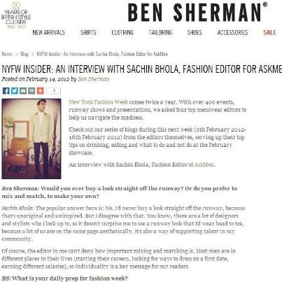 Sachin Bhola - Ben Sherman