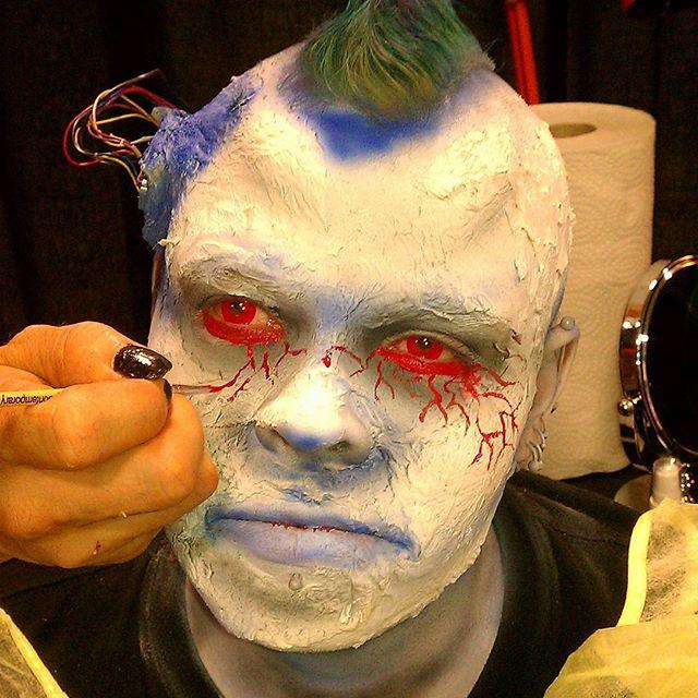 Amazing Cyborg makeup from @mutatedsoulz FX Makeup .. #costume #costuming #costumingforfilm #specialeffectsmakeup #fxmakeup #halloween