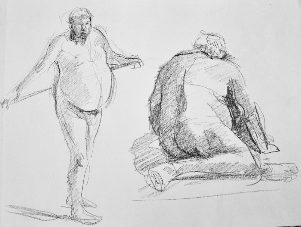 Figure Study,   2017  China marker on paper