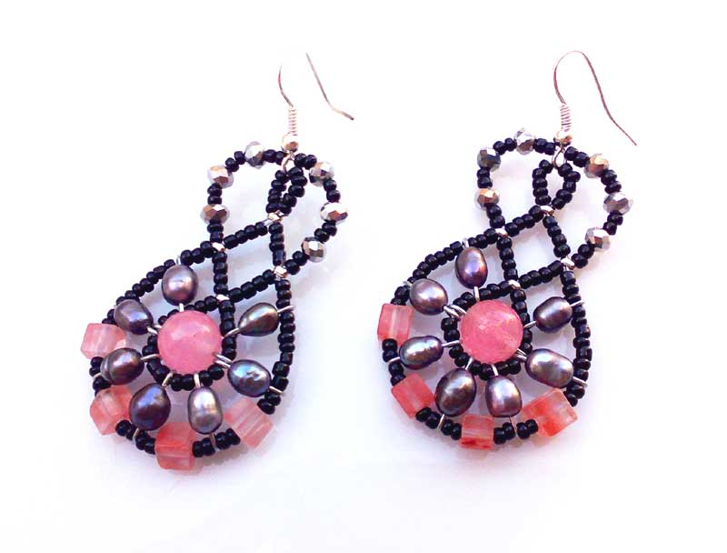 Mini Lucky Charm Cherry Quartz - earrings