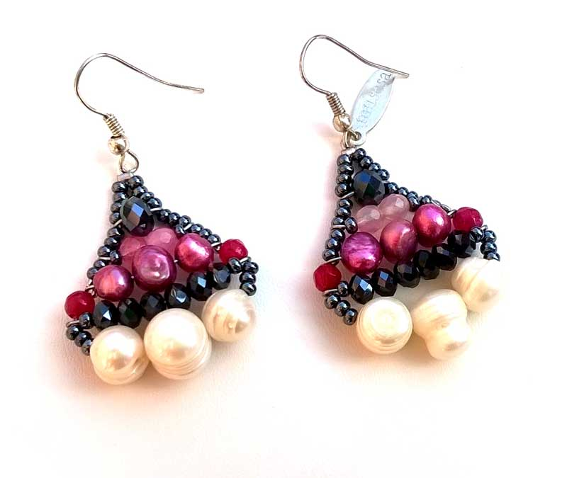 Little Mermaid Ruby & Pearl - earrings