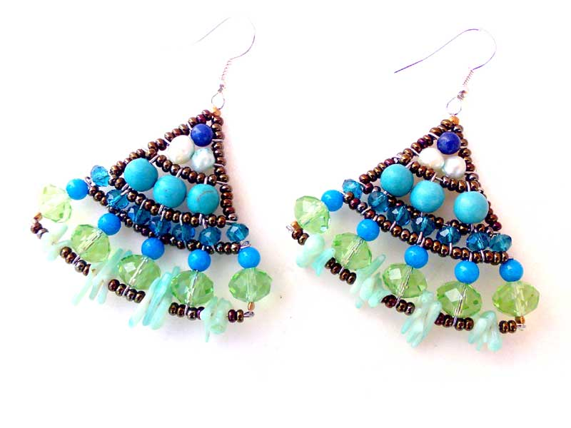 Mermaid Blue Coral - earrings