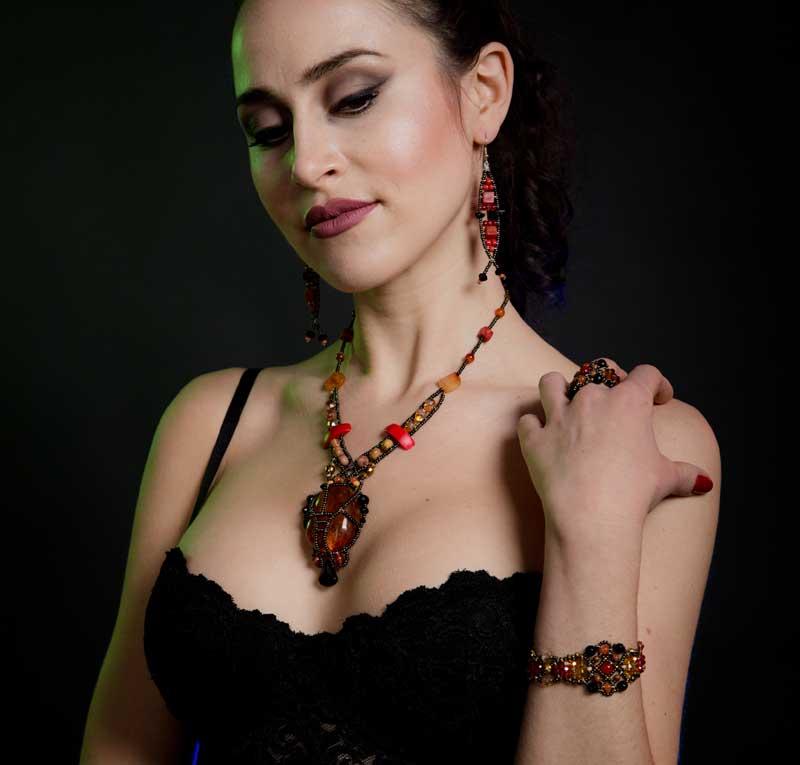 Sheherezade Fire Agate - ring & bracelet