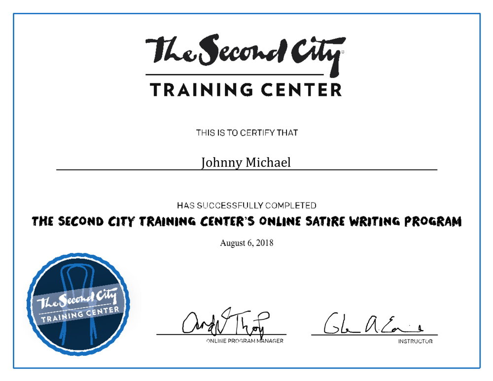 Johnny Michael The Second City Training Center Certificate