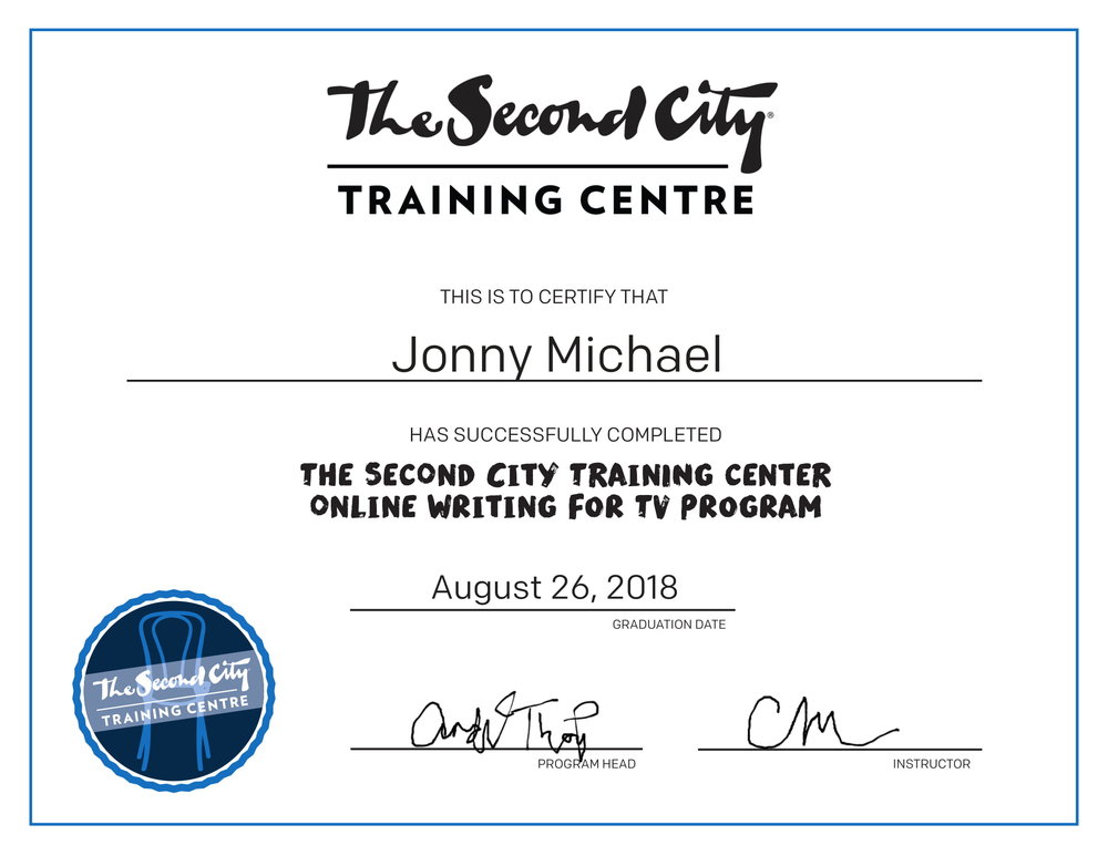 Johnny Michael Writing for TV Certificate