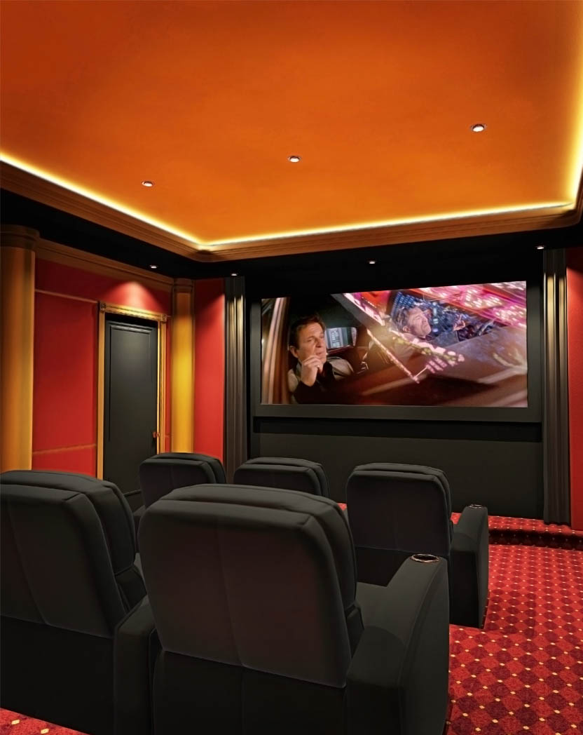 Classic Home Cinema Theater Screen Seating Paneling Carpeting NY .jpg
