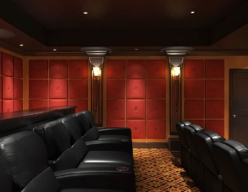 Classic Red Black and Gold Home Theater Cinema Seating Leather Sconce Lighting Paneling Soundproofing NY .jpg