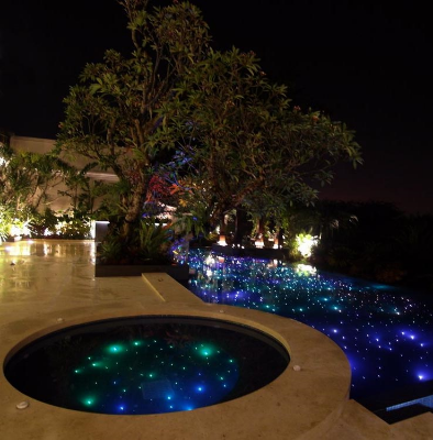 outdoor lighting effects. the fiber optics can also be used with colored optic or led pool lighting to create beautiful effects outdoor