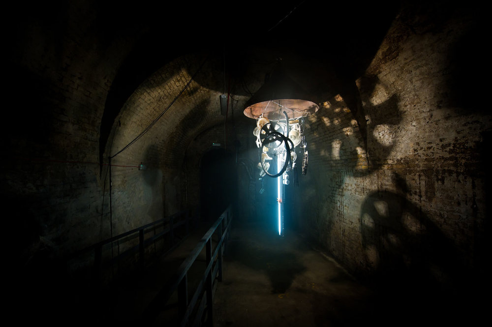 Salvaged object sound and light installation adorns the stench of the Old Vic tunnels, London for the  Lazarides Minotaur  group show. With  Lucy McLauchlan  and  Caleb Madden