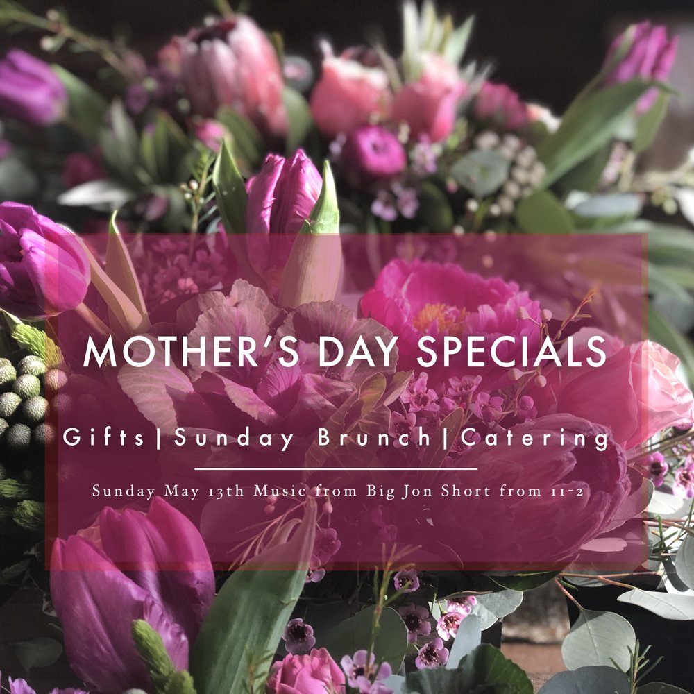 Join us in celebrating the Moms in your life!            This weekend will have lavender short bread and Madeline cookies available for gifts, full bundt cakes, a variety of sweet treats, gift cards, handmade coffee mugs, loose leaf tea and tote bags or  Purchase e-cards here!               Pastry platters, full quiche and picnic sandwich platters are available for order. For more options check out our catering menu  here.  Orders must be made and paid for by Saturday May 12th.             Bring Mom in for brunch on Sunday! Although, we do not take reservations, the line moves quickly. Grab a momosa, listen to live tunes by Big Jon Short, and enjoy the afternoon with tasty treats and good company.