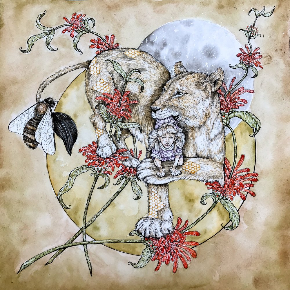 """Lion's Tail"", 12"" x 12"", Pen and ink and watercolor on paper (Available for purchase)"