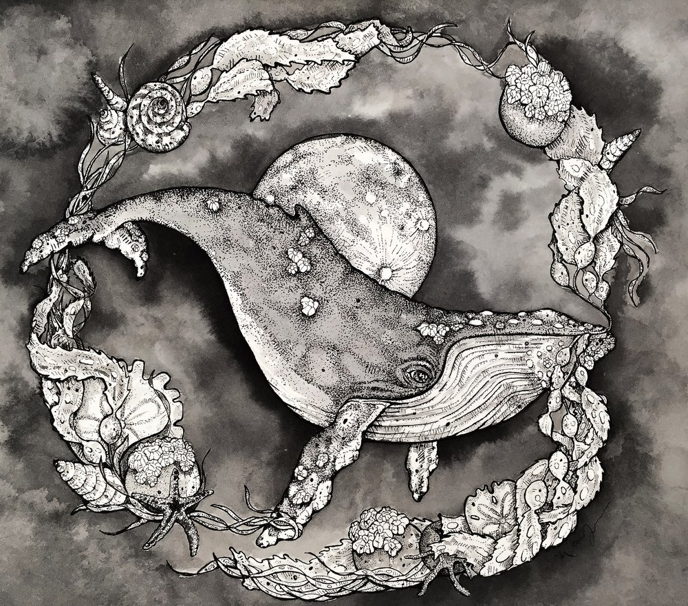 """Lunar Marrow"", 9"" x 12"", Pen and ink on paper"