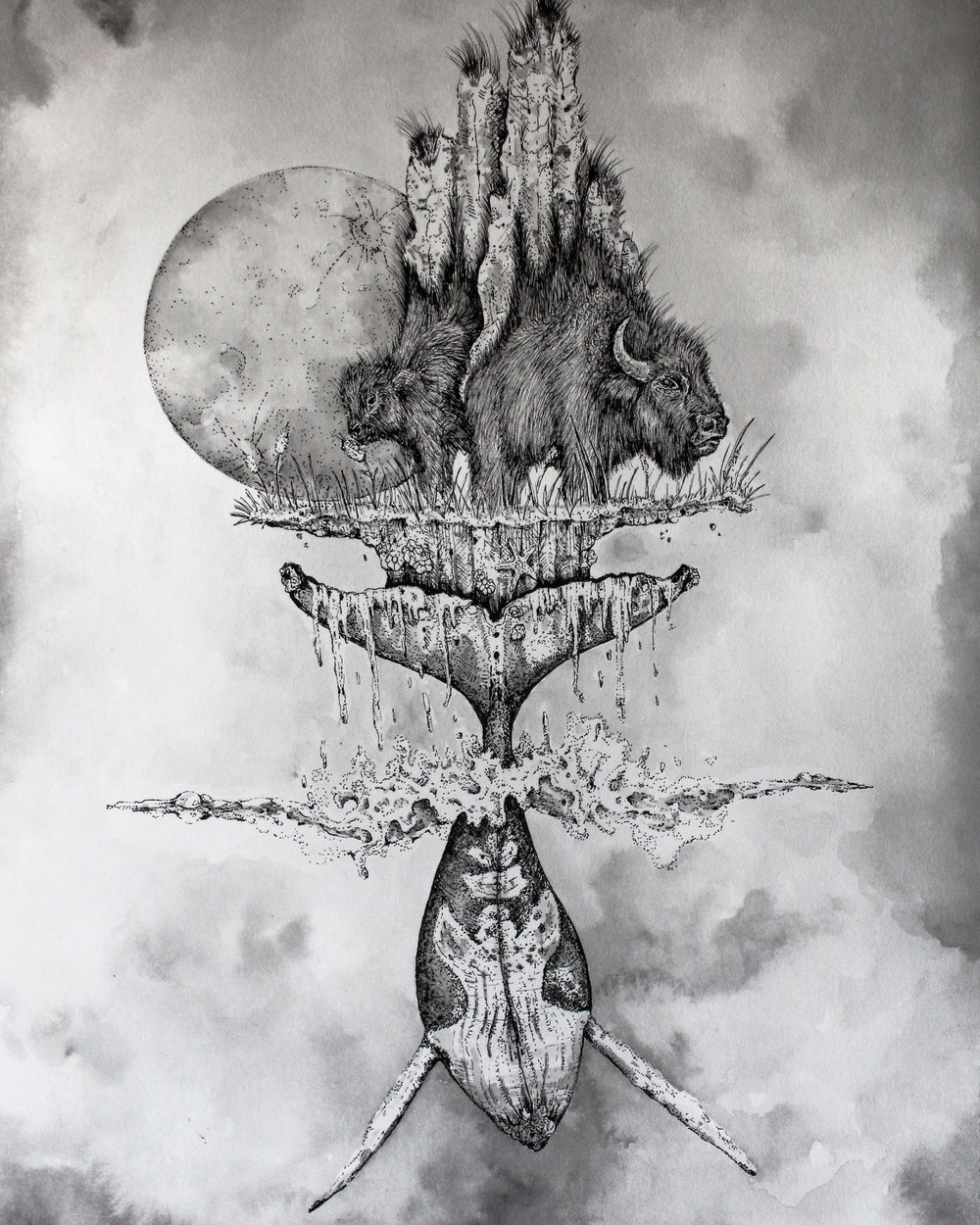 """""""Totem of Ongoing Becoming"""", 12"""" x 9"""", Pen and ink"""