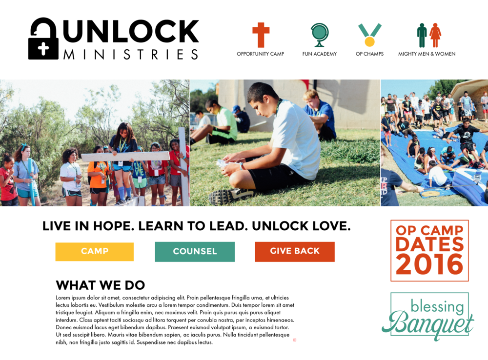 Website mockup for a local nonprofit I designed for a media and religion class