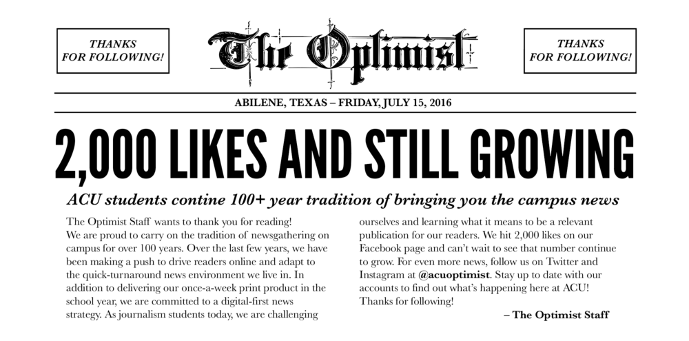 Ad for  The Optimist  after the page hit 2,000 followers in summer 2016