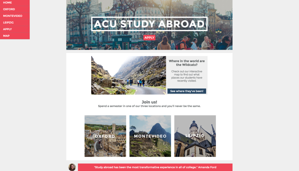 ACU Study Abroad concept website I coded for a web publishing class.
