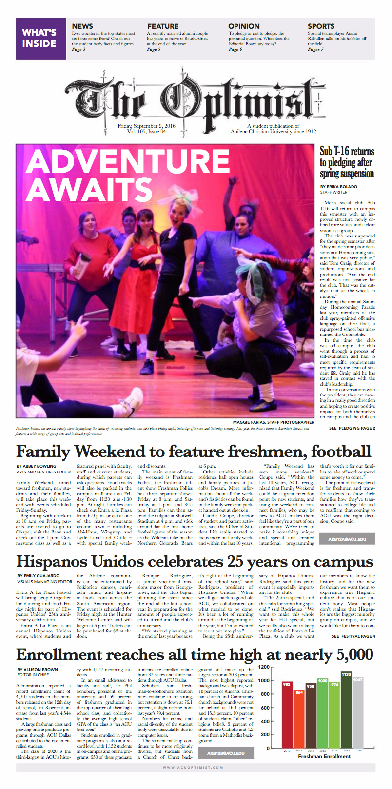 Front page design of The Optimist, Sept. 9, 2016