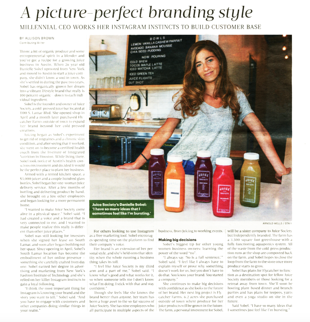 Austin Business Journal  venture profile on the founder of Austin's Juice Society