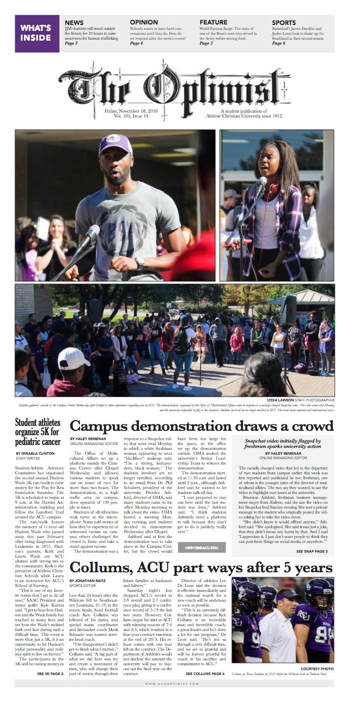 Front Page Design for The Optimist, Nov. 18, 2016