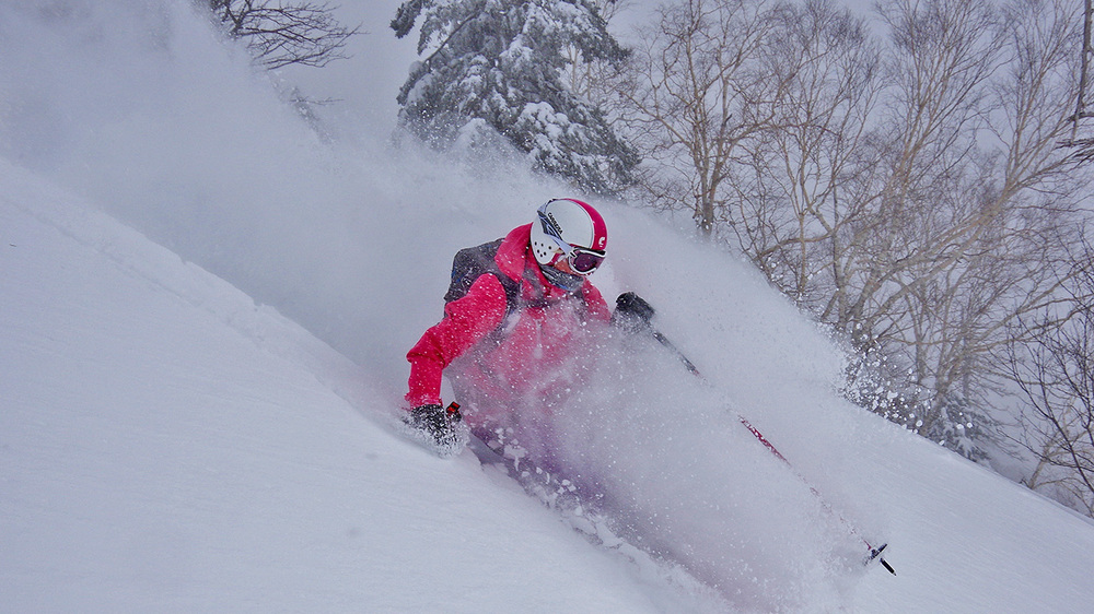 Lyndell Keating Enjoying New Hokkaido backcountry. Photo: Tim Macartney-Snape