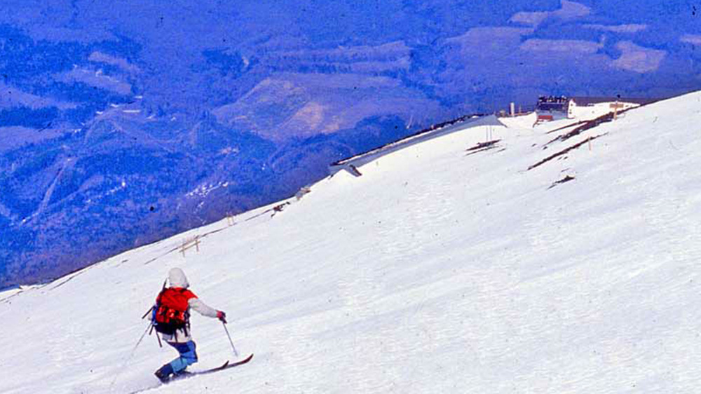 Telemark Ski Descent Mt Fuji.