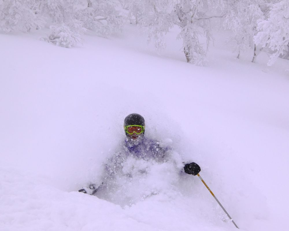 Stretch in the Tokachi powder.