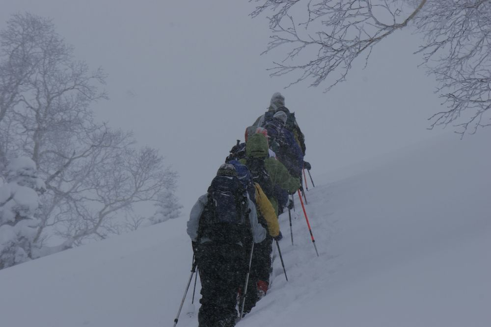 On the hunt for the next deep powder run, Asahi Dake.