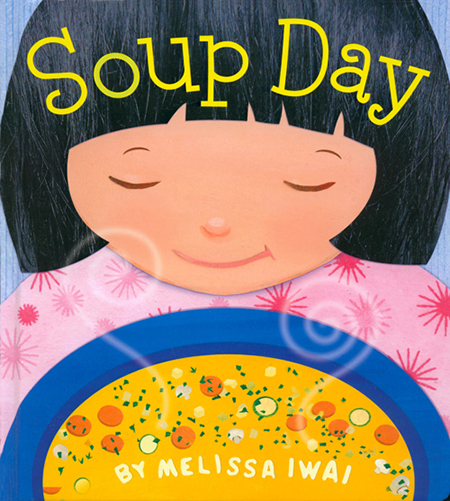 "Soup Day ""With economical text and vivid, multitextured collages whose upbeat charm belies their sophistication, the process of preparing the dish unfolds. In one spread, Iwai cleverly offers lessons about numbers, colors, sizes, textures, and what various vegetables look like."" ""A perfect meal and a perfect book"".- School Library Journal   ""Iwai's writing debut beautifully depicts the loving relationship between a mother and daughter as they go about a winter ritual--making soup.""   ""While the author slips colors, numbers and shapes into the text, the real draws are the touching portrayal of a mom and her daughter and the gorgeous artwork. Acrylics and collage were combined digitally to make the illustrations, which are filled with colors and practically palpable textures. Pair this with Ehlert's Growing Vegetable Soup. Ordinariness made extraordinary."" (Starred Review) Kirkus Reviews Soup Day is very close to my heart, because it was inspired by my experiences in the kitchen with my son, Jamie. At the end of the book, the recipe for Snowy Day Soup is featured. I hope you try it out! For more recipes and ideas for cooking with kids, please visit www.thehungryartist.wordpress.com. Henry Holt 2010 ISBN-10:0805090045"