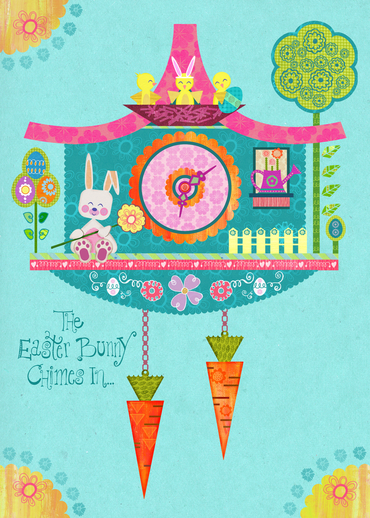 Margot's card inspired by our cuckoo clock assignment in MATS Bootcamp was picked up to be licensed by Calypso Cards!!