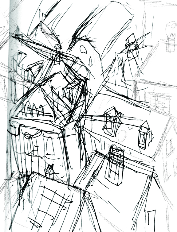 This is my original thumbnail sketch in my notebook.  I work really small, then enlarge in Photoshop.