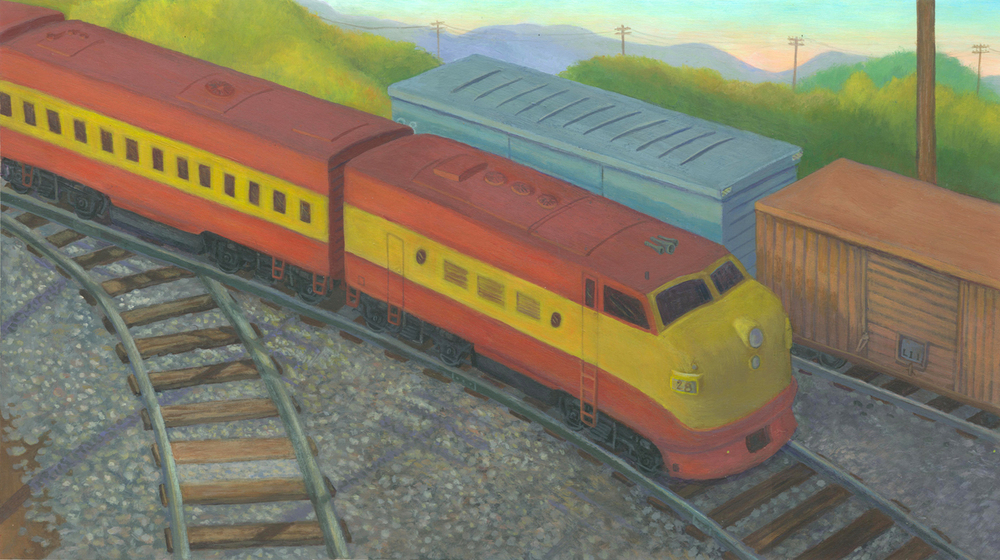 This painting is based on a toy train I bought during my research phase.