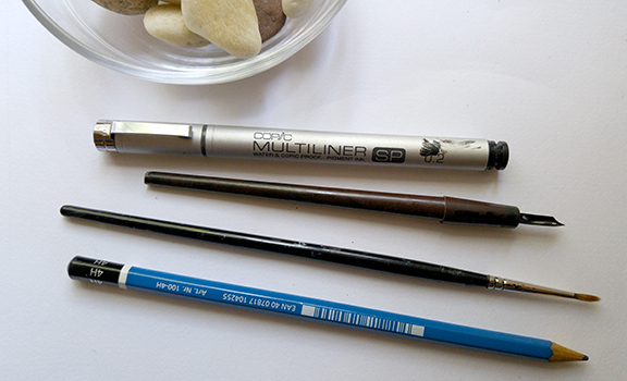 Some of my drawing tools: Copic multiliner, croquil nib pen, Series 7 Winsor Netwon sable brush, Staedler 4H pencil