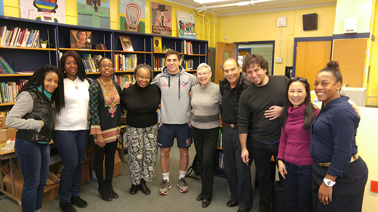 Doris Bien-Aime, Cynthia McKnight, PTA Co-President, Principal, Ms. Abidemi Hope, Rita Williams-Garcia, Mike Petri, Betsy Lewin, Ted Lewin, George O'Connor, me, Taheedah Yasin, Book Bash organizer