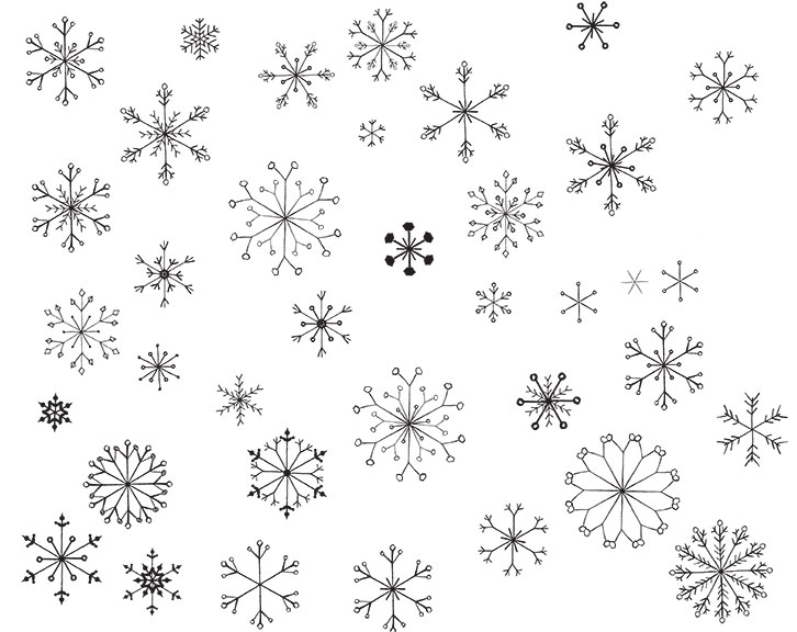 Assembled snowflakes, vectored and created in Illustrator