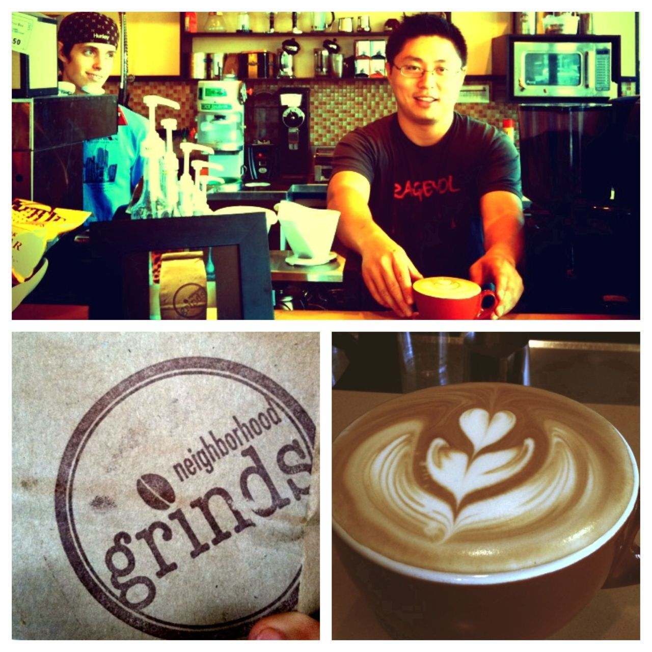 Neighborhood Grinds   Got some good freshly roasted coffee today from Phil. Check out his cafe at: 2315 Artesia Blvd Unit 1  Redondo Beach, CA 90278   I love good coffee.  And much respect to business owners during these hard economic times in America. Go for it guys!
