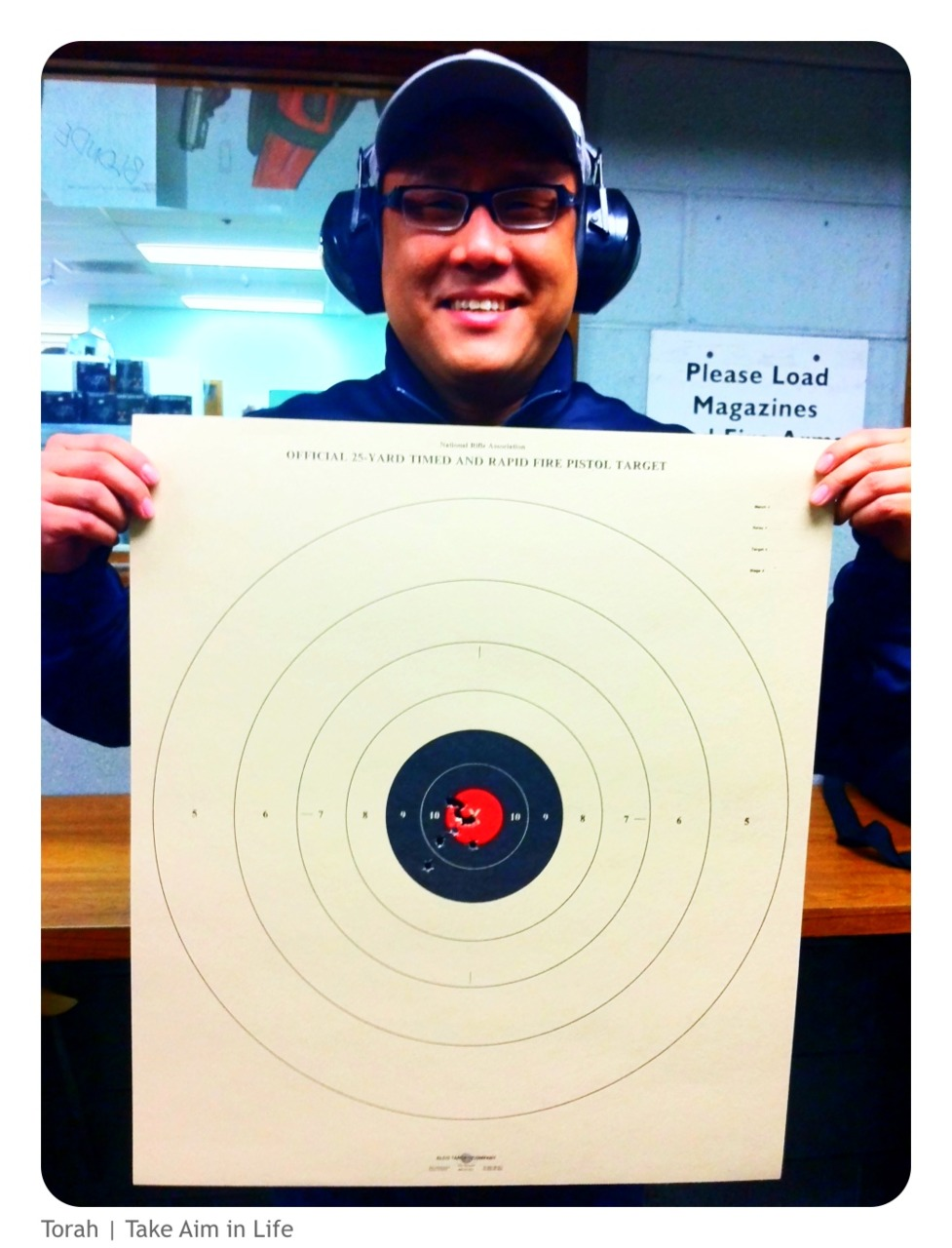 """Torah {Biblical Living}   """"To take aim, to shoot"""", to """"hit the mark"""".   Our ancient faith (OT) teaches us to take aim at all that God wants us to """"hit"""", in doing this we will experience deep satisfaction.   In Jesus we find that the bulls-eye is """"Love"""".   Let us take aim in life.     """"Love is the loaded gun, Let me point it at everyone"""" - Violet Burning      (Special thanks to Officer Choe for showing us the ropes.)"""