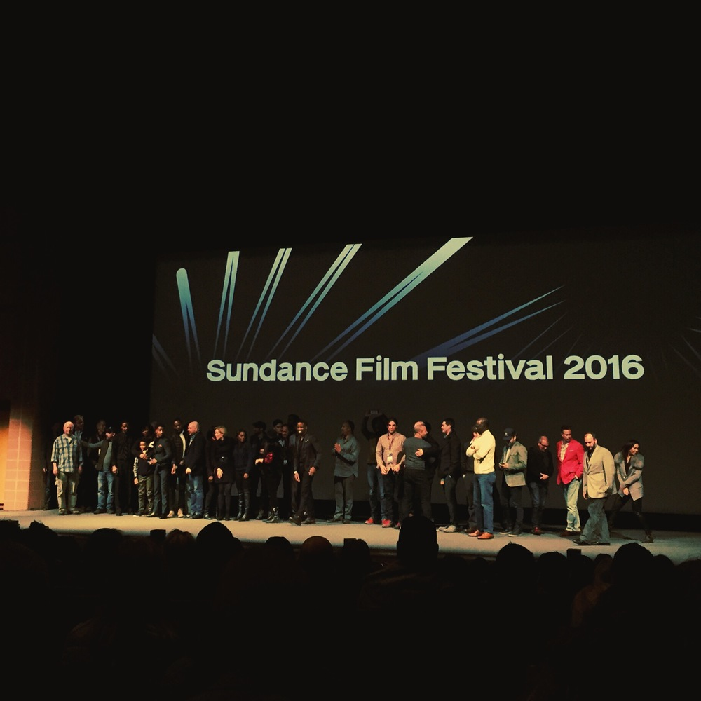 The Cast and Crew with Nate Parker. (My First Movie at Sundance. Wow.)