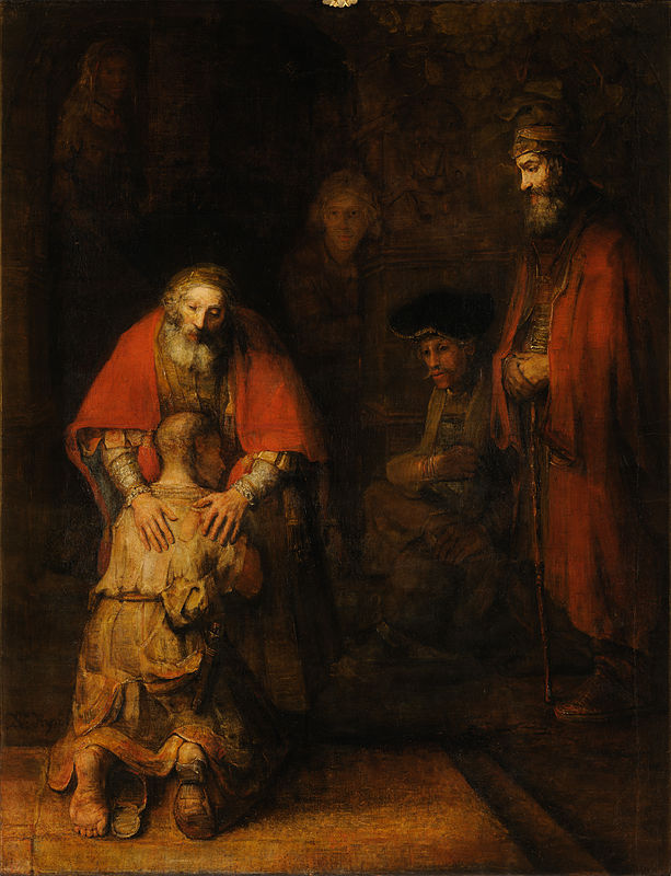 Rembrandt van Rijn  ,   The Return of the Prodigal Son  , c. 1661–1669. 262 cm × 205 cm.   Hermitage Museum  ,   Saint Petersburg