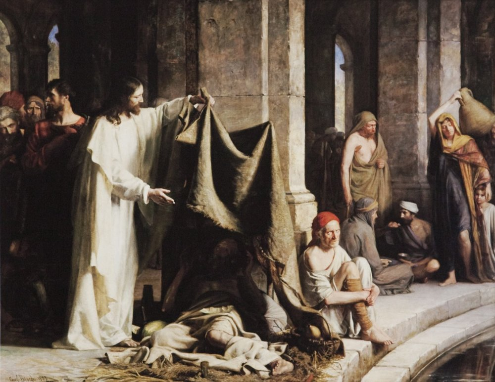 Christ Healing the Sick at the Pool of Bethesda , Carl Heinrich Bloch, c. 1883