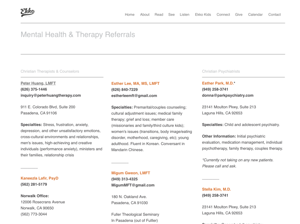 Ekko's Therapy Referral Page