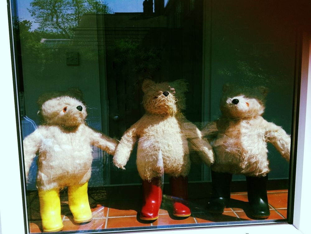 A trio of bare Gabrielle designs Bears post sponge down prior to dry shampoo and brush, taking care to preserve their 'fluffyness' - these boys look like they are enjoying a sauna boots 'n' all.
