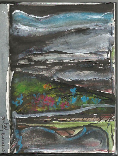 Collage 6:  Landscape inspired - collage and ink and gouache.