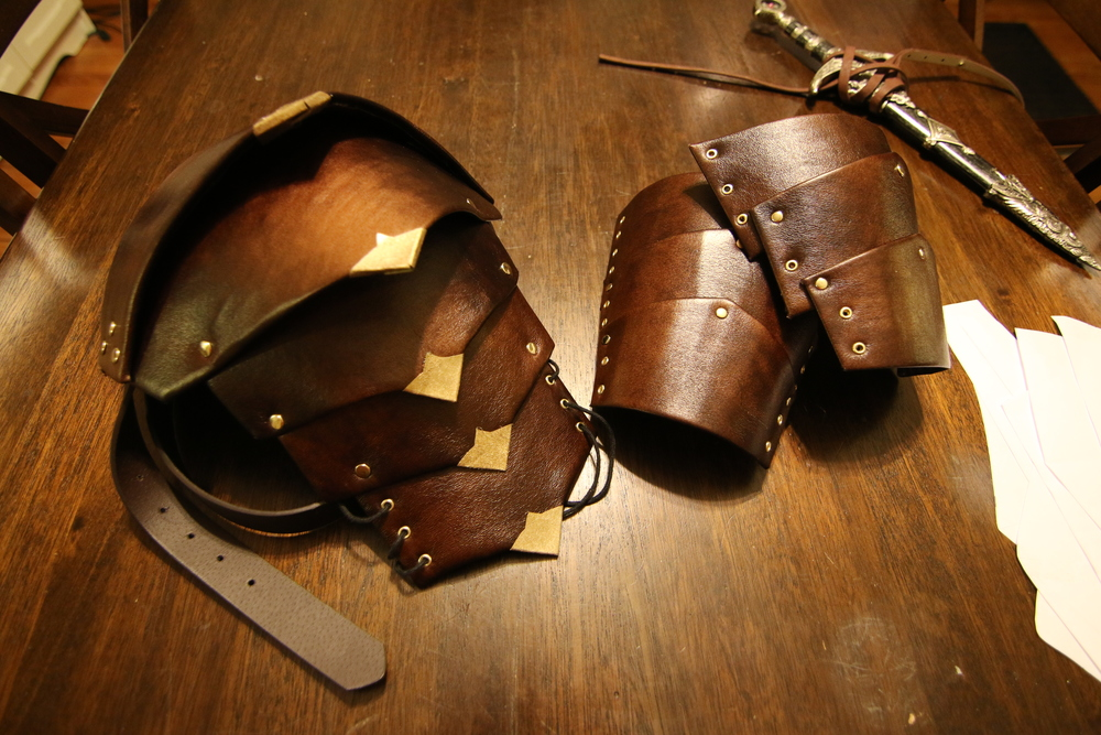 The finished product - pauldron and cuffs