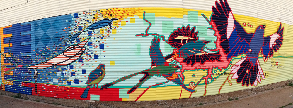 Artwork on the side of the former lumber yard.