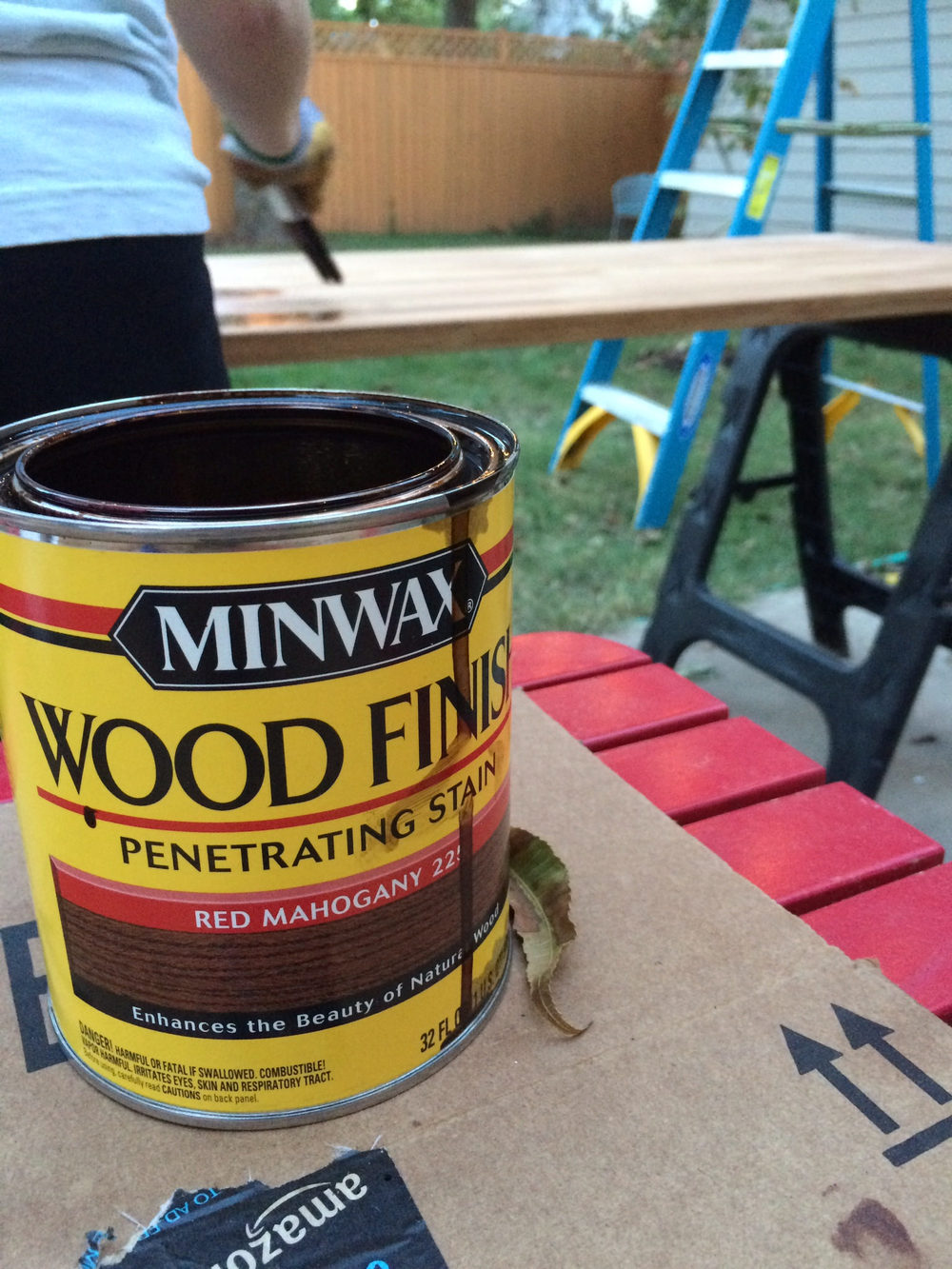 We used Minwax Red Mahogany to match the stain color in the rest of the house.