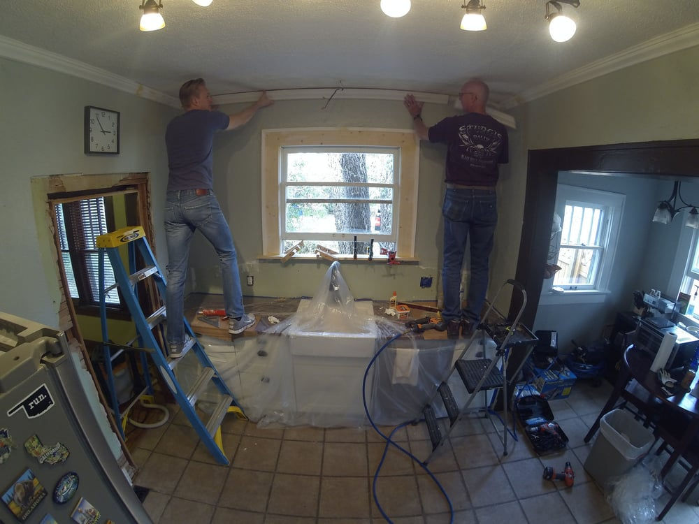 Installing the last of the ceiling trim