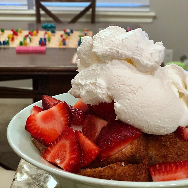 Game night and some serious strawberry angel food cake dessert!
